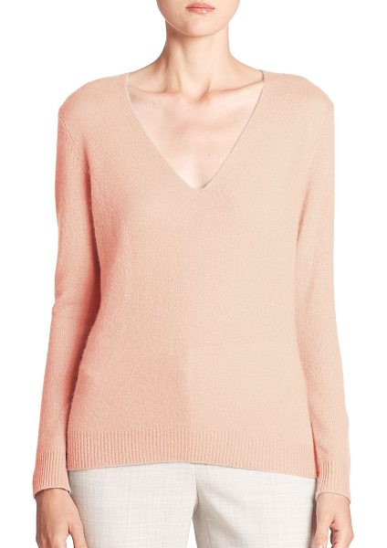 Theory adrianna cashmere v-neck sweater in palerose - Luxe cashmere sweater in a relaxed silhouette. Deep...