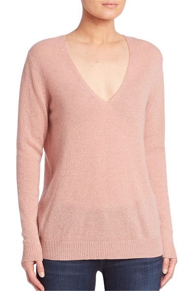 Theory adrianna cashmere v-neck sweater in dustywillow - Luxe cashmere sweater with deep v-neck. Deep v-neck....