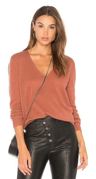 Theory Adrianna RL Sweater in deep rose - 100% cashmere. Dry clean only. Knit fabric. Rib knit...
