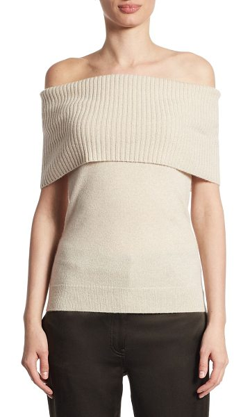 Theory aflina cashmere off-the-shoulder top in light heather clay - Off-the-shoulder cashmere top with ribbed top overlay....