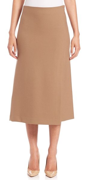 Theory Anneal a-line midi skirt in camel