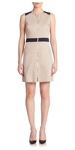 Theory Assenzi contrast sateen shift in lightclay-navy - Contrast trim structures this polished shift design,...