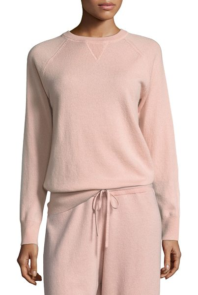 Theory Athletic Stripe Crewneck Cashmere Sweater in pink - EXCLUSIVELY AT NEIMAN MARCUS Theory cashmere sweater...