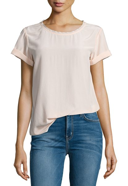 "Theory Bakeeve Summer Short-Sleeve Silk Top in pearl pink - Theory ""Bakeeve"" top in Summer silk. Round neckline with..."