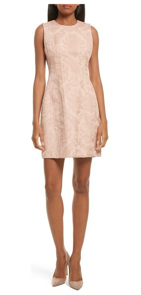 Theory baroque jacquard hourglass dress in chalk pink - A curve-skimming sheath for any occasion gets a rich and...
