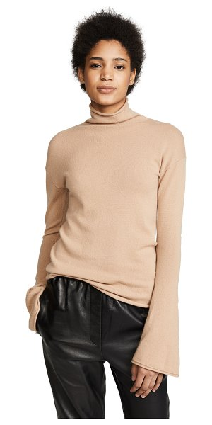 Theory bell sleeve cashmere sweater in camel - Fabric: Brushed knit Flared sleeves Rolled hem Pullover...