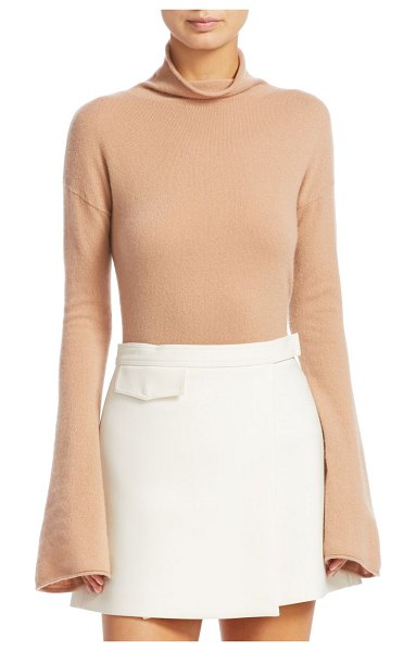Theory bell sleeve mockneck top in camel - Elegant mockneck top crafted from cashmere with...
