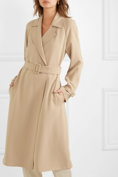 Theory belted crepe trench coat in beige