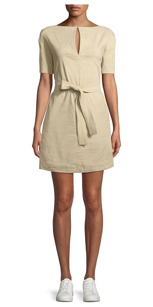 Theory Belted Crunch Wash Shift Dress w/ Self-Tie Waist in brown - Theory belted shift dress with self-tie waist....