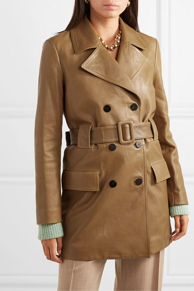 Theory belted double-breasted leather coat in tan