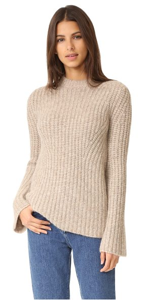 Theory bestella sweater in oatmeal - Diagonal panels of chunky knit compose this slouchy,...