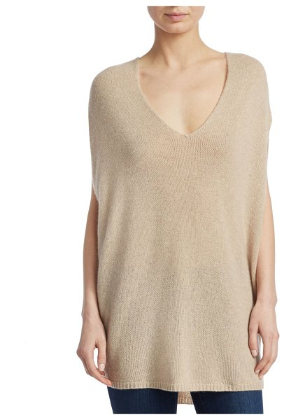 Theory cashmere v-neck cape in warm stone