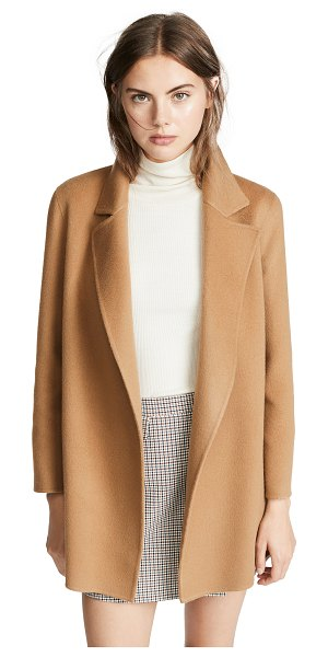 Theory clairene coat in buckwheat - Fabric: Felt Open placket Long profile Collared neck...