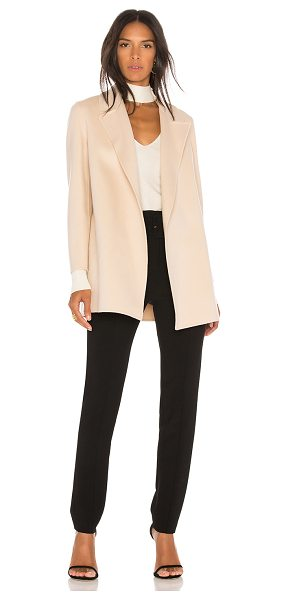 Theory Clairene Coat in pink ivory - 90% wool 10% cashmere. Dry clean only. Open front. Side...