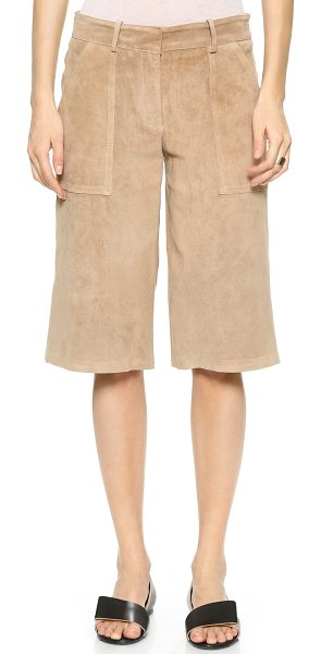 Theory Classic suede gera shorts in warm fawn - Rich suede Theory shorts with a wide, skirt like...