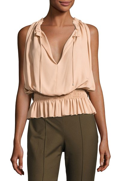 "Theory Dezzie Classic Georgette Sleeveless Blouse in pink - Theory ""Dezzie"" feminine top in Classic georgette. Split..."