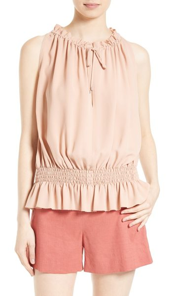 Theory dezzie silk georgette top in pale rose - Smocking creates the blouson silhouette-and easy,...