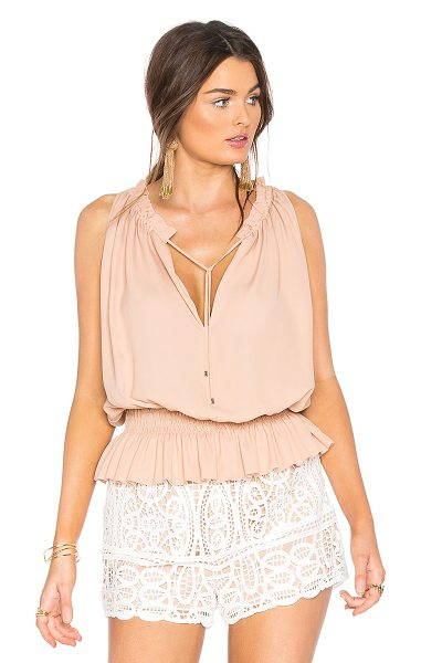 Theory Dezzie Tank in peach - 100% silk. Dry clean only. Neckline keyhole with tie...