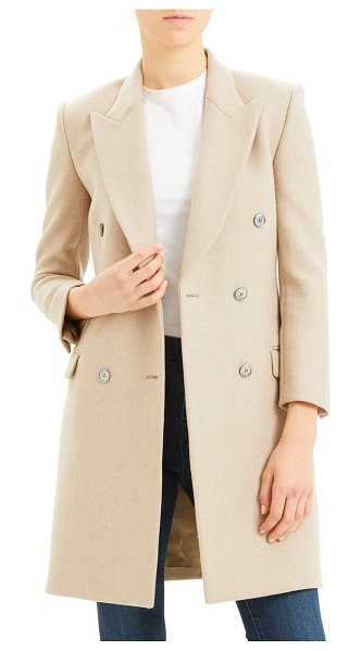 Theory double breasted wool coat in beige