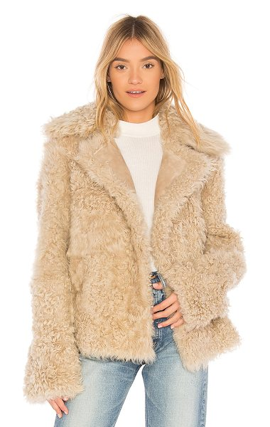 Theory Dyed Shearling Peacoat in cream - Fur: 100% real dyed shearling lamb furPockets: 100% real...