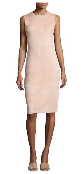 "Theory Eano L Stretch Suede Sheath Dress in blush - Theory ""Eano L"" dress in lamb suede. Approx. 41""L down..."