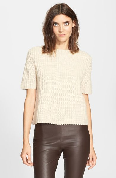 Theory edalina wool & cashmere sweater in oatmeal - Cable knitting lends incredible texture to a...