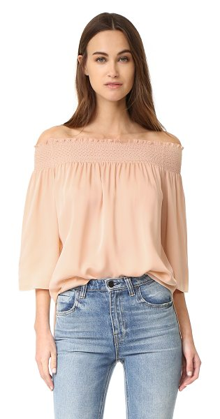 Theory elistaire blouse in peach rose - An effortless off-shoulder Theory blouse in airy silk...