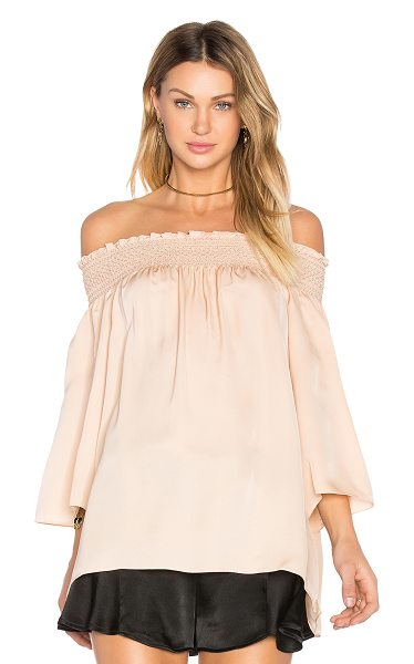 Theory Elistaire Off the Shoulder Blouse in blush - 100% silk. Dry clean only. Elasticized smock neckline....