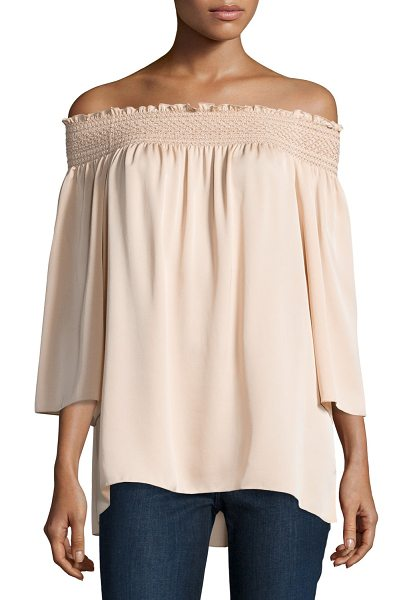 "THEORY Elistaire Off-the-Shoulder Modern Georgette Top - Theory ""Elistaire"" top in Modern georgette. Smocked..."
