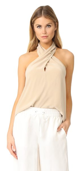Theory ertil halter top in light barley - A figure-draping silhouette lends effortless elegance to...