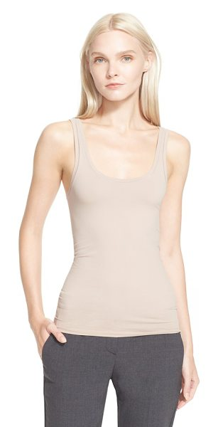 Theory fliore u-neck stretch tank in nude - Dramatically dipped in front and back, the smooth...