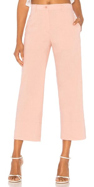 """Theory Fluid Pant in pink - """"Self: 62% linen 36% viscose 2% elastaneLining: 100%..."""
