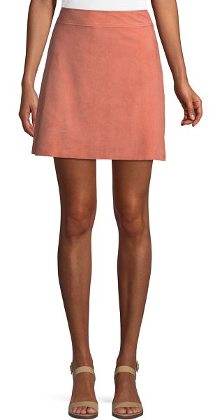 Theory High-Waist Mini-Length Suede Skirt in pink - EXCLUSIVELY AT NEIMAN MARCUS Theory suede skirt....