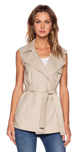 Theory Katara vest in tan - Shell: 100% linenLining: 100% cotton. Dry clean only....