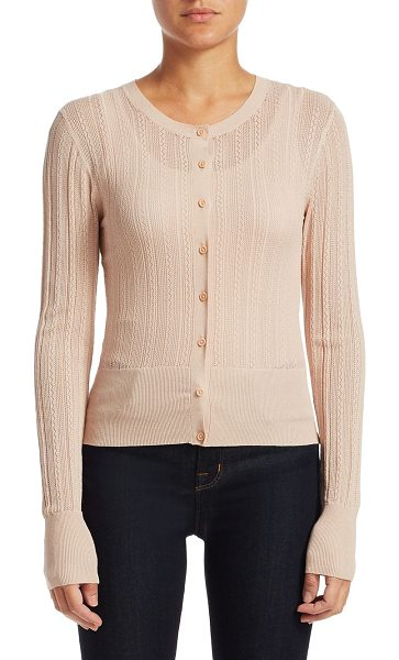 Theory lace prosecco knit cardigan in pale blush - Button-up long cardigan in prosecco knit. Crewneck. Long...