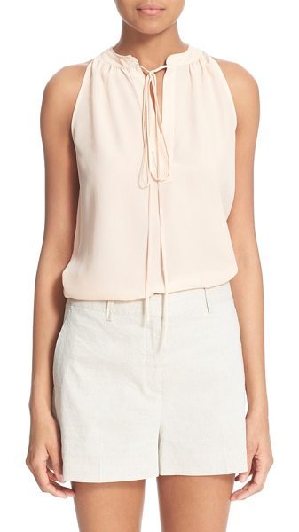 Theory livilla tie front silk tank in pearl pink - Delicate gathers frame the split neck of this sleeveless...