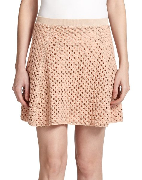 Theory Memorize knit skirt in rustypink - An eye-catching open knit lends a hint of vintage edge...