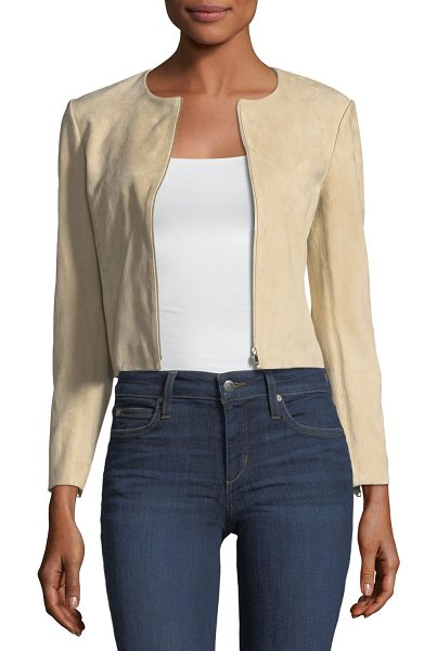 """THEORY Morene Zip-Front Cropped Stretch-Hide Suede Jacket in stoney beige - Theory """"Morene"""" jacket in stretch-hide suede. Crew..."""