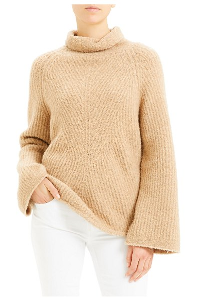Theory Moving Rib Turtleneck Sweater in light natural