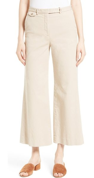 Theory nadeema crop flare leg chinos in light barley - Blending tailored polish with relaxed ease, woven-linen...