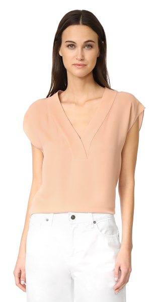Theory orwin v neck top in pale rose - A simple Theory blouse with an effortless drape. Deep V...
