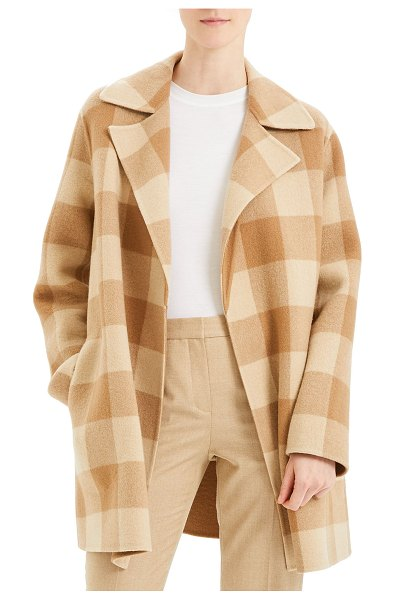 Theory Overlay Double-Face Check Coat in camel multi