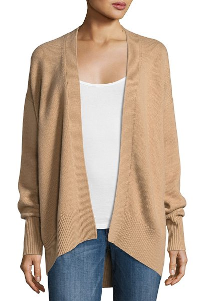 "Theory Oversized Open-Front Cashmere Cardigan in camel - Theory cashmere cardigan sweater. Approx. 27.5""L down..."