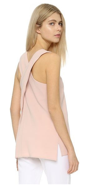 Theory Parieom blouse in blush - A tunic length Theory top with crisscross straps. Side...
