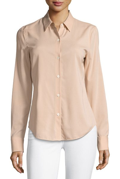 """Theory Perfect Fitted Button-Front Top in pink - Theory """"Perfect Fitted"""" top in stretch crepe georgette...."""
