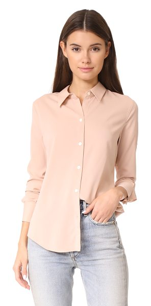 Theory perfect fitted shirt in pink nude - An understated Theory button-down shirt in lightweight...