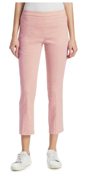 Theory pleated linen pants in pink ballet - Cropped linen pants with pleated detail Elasticized...