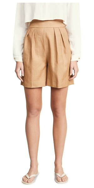 Theory pleated shorts in hay beige