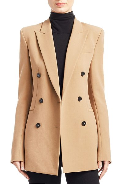 Theory power buttoned jacket in beige - Featuring jacket with minimalistic elegant design. Peak...