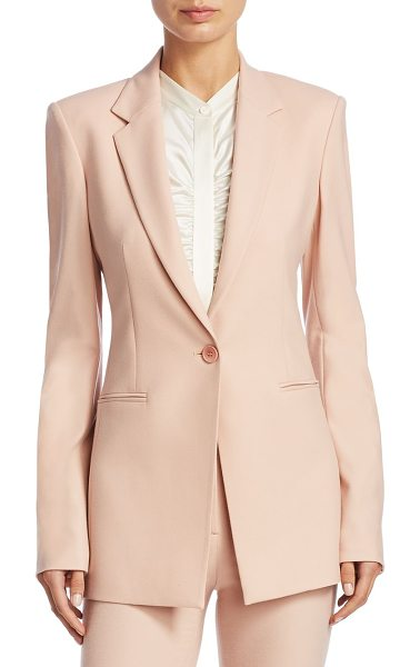 Theory wool blend power jacket in pink - Tailored wool-blend power jacket. Notch lapels. Long...